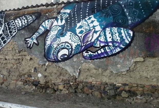 Parábola de la lagartija, el viejo y el grafitero