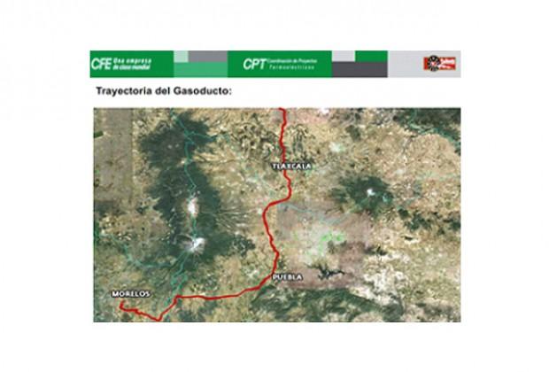 La versión oficial del gasoducto Morelos en documento de la CFE.
